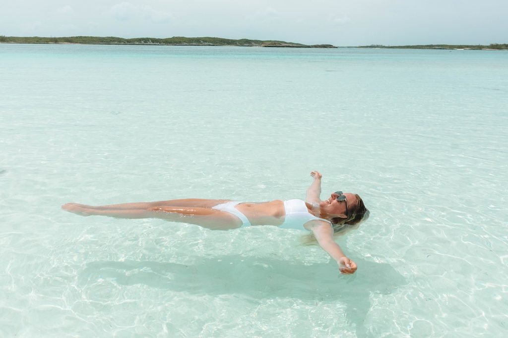 A woman floating in the Exumas