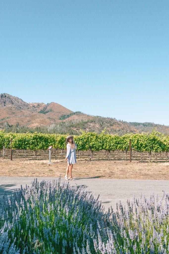 A woman enjoying a California Wine Country road trip