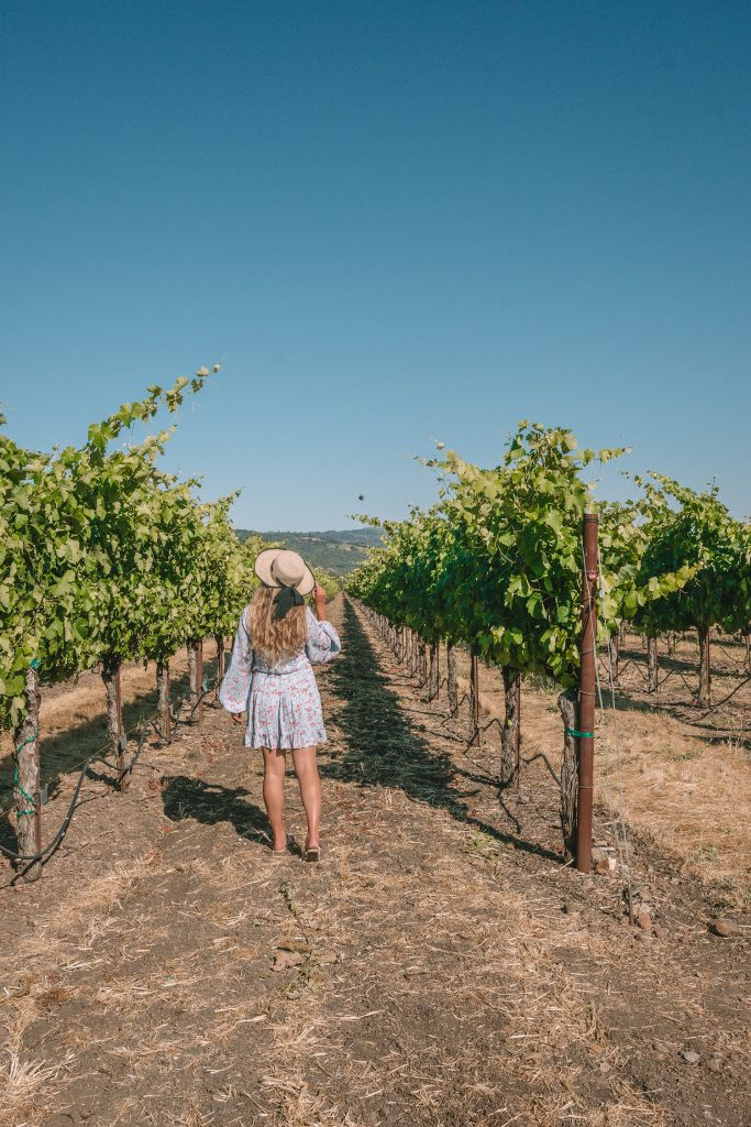 A woman at St. Francis Winery in California