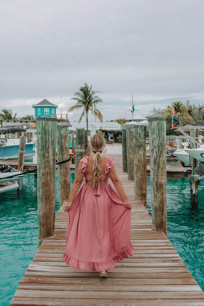 A woman at Staniel Cay Yacht Club in Exuma, Bahamas