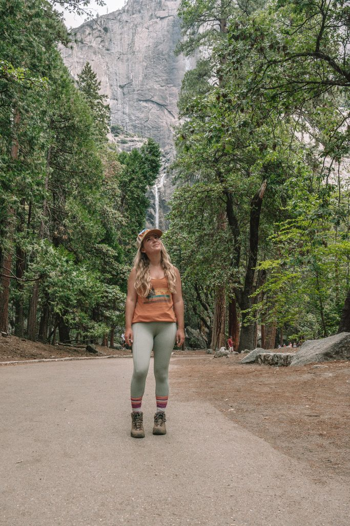 A woman hiking in Yosemite National Park