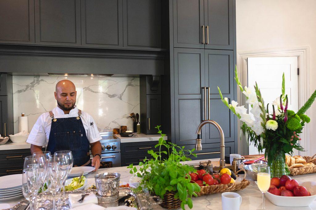 Chef Alex Espinoza cooking at The George.