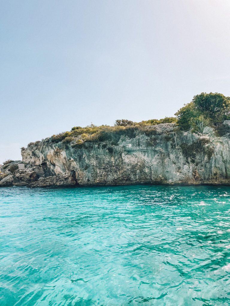 Thunderball Grotto from Staniel Cay, Exuma, Bahamas