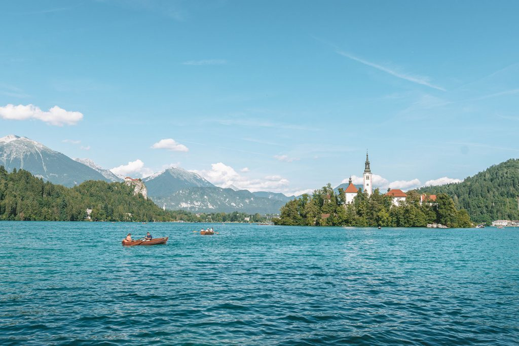 The island at Lake Bled in Slovenia