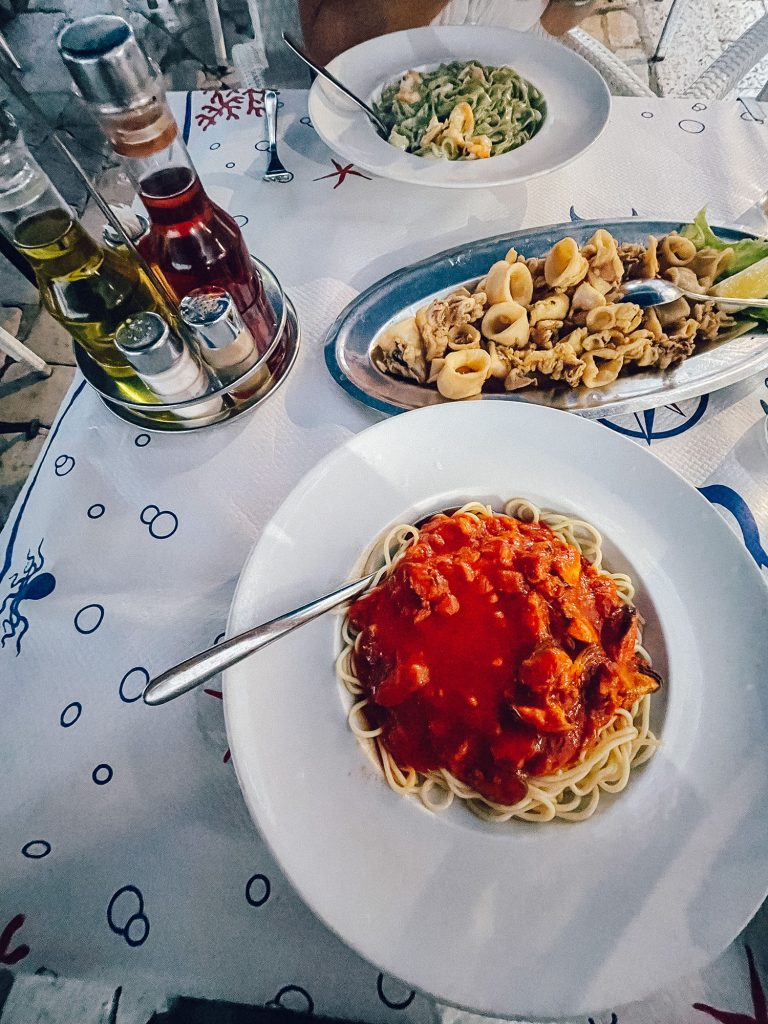 Seafood pasta dishes from Kamenice in Dubrovnik