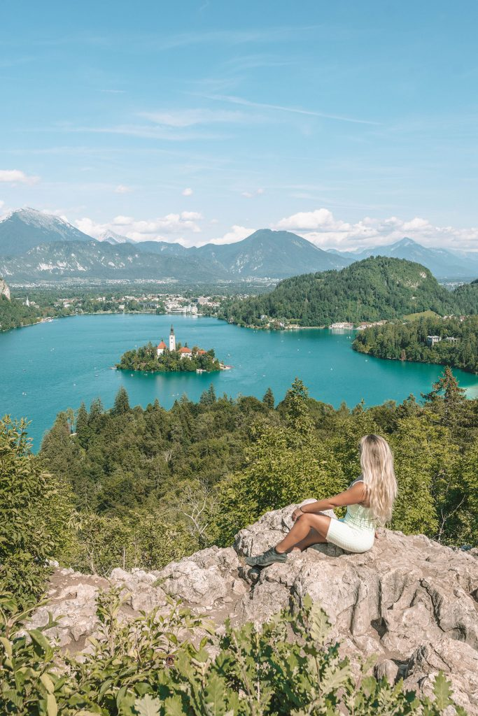 A woman doing a hike in Lake Bled during a weekend in Slovenia