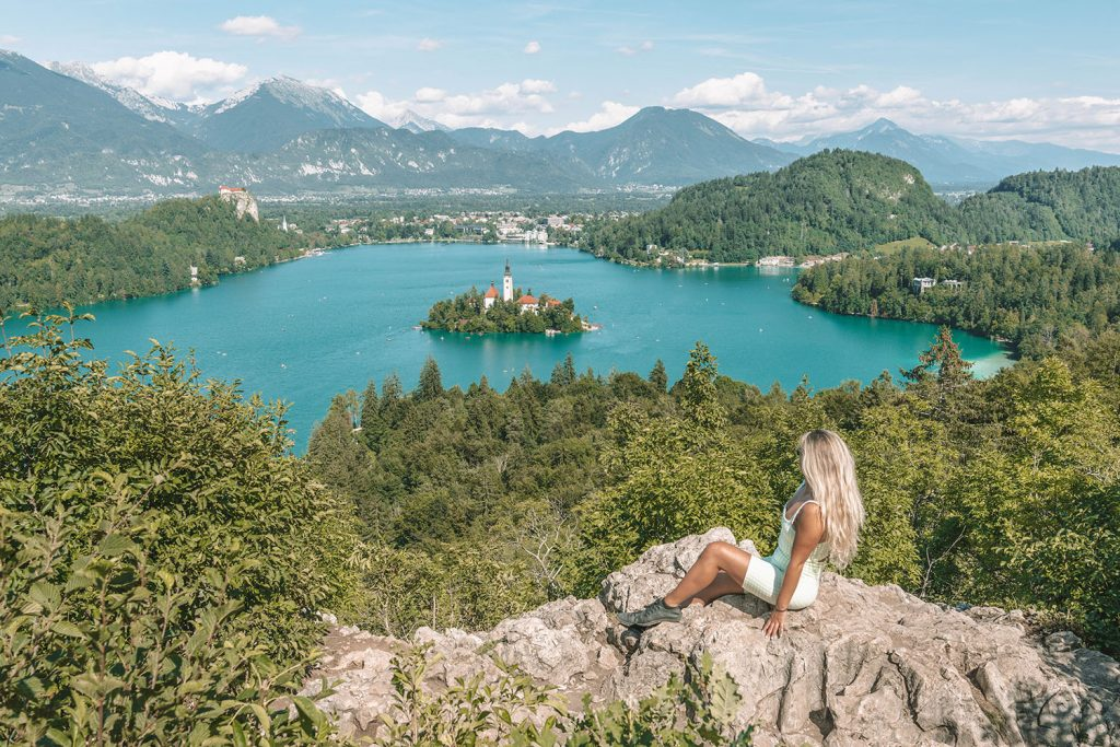 A woman at Lake Bled during a weekend in Slovenia