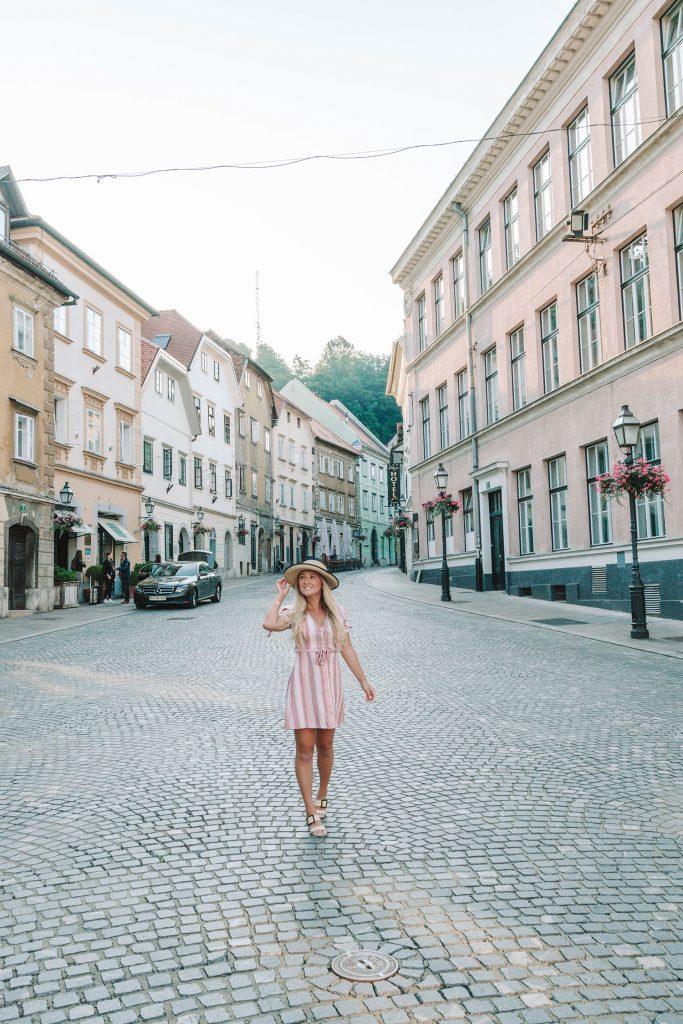 A woman walking in Ljubljana