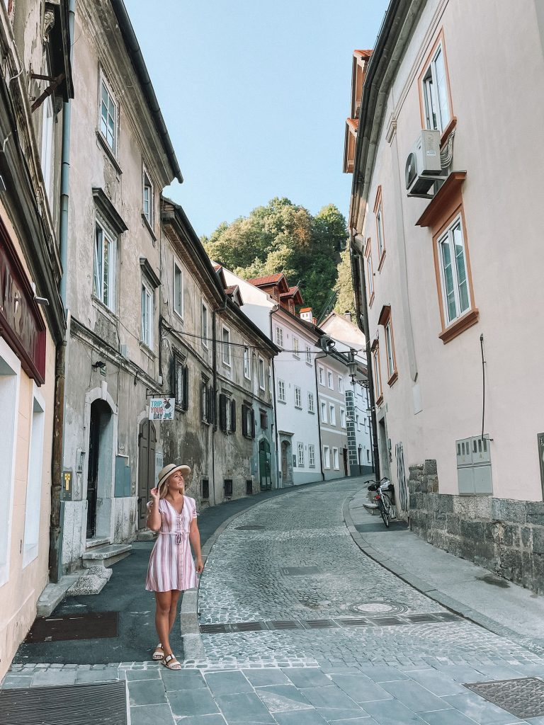 A woman enjoying a weekend in Slovenia from Italy