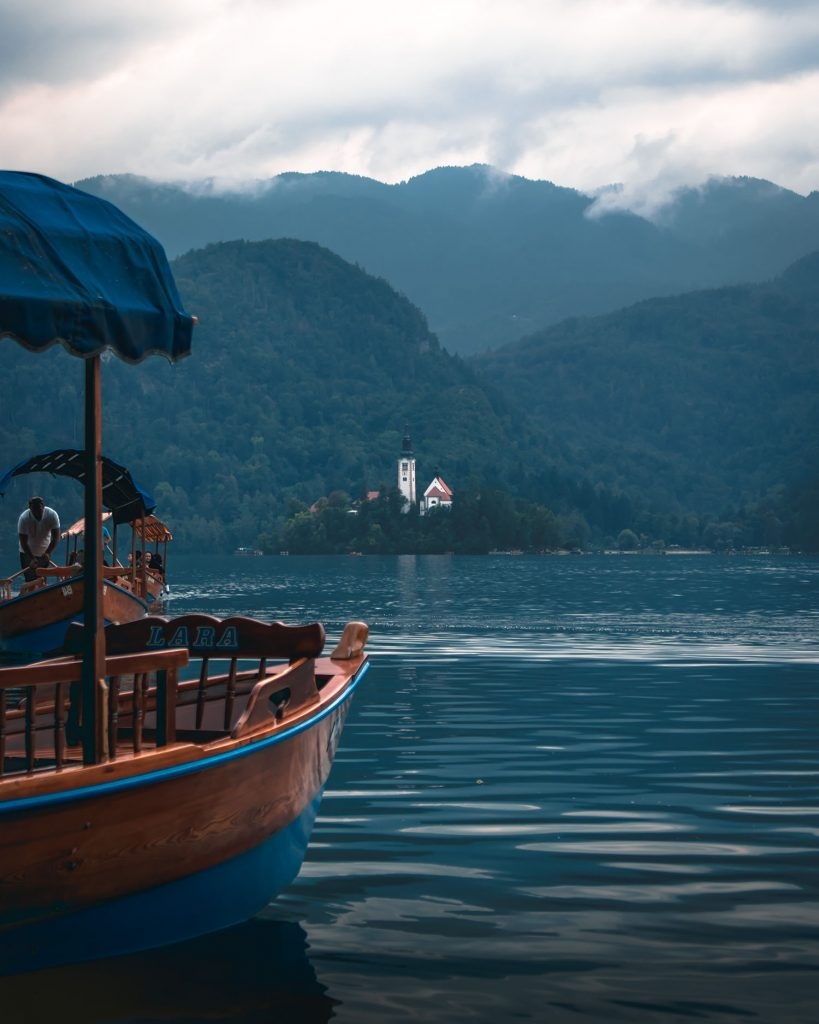 A pletna boat at Lake Bled in Slovenia