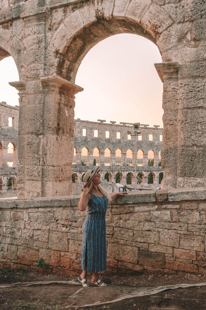 A woman enjoying the Roman ruins